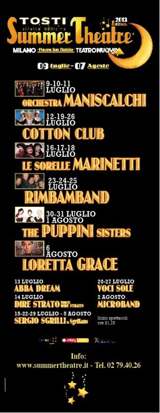 Festival estivo TOSTI Teatro Nuovo Milano